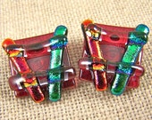 """Dichroic Earrings Chunky Square Post or Clip-on - 3/4"""" 2cm - Copper Orange Emerald Cranberry Red Fused Glass"""