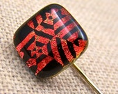 Stick Pin Hat Pin - Rusty Lace Web Mosaic Dichroic Fused Glass - 1/2 Inch Cute Little Nugget