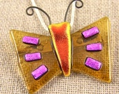 Dichroic Butterfly Pin & Pendant - Amber Gold Rusty Red Orange and Pink Fused Glass