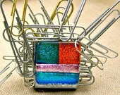 Dichroic Glass Paper Weight / Paper Clip Magnet - Desk Organizer - Rainbow Patchwork Fused Glass - 1 Inch Small