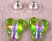 "Cross in Heart Dichroic Fused Glass Post Earring- Lime Green with Opal Pink & Peach Orange Layers - 1/2"" 12mm"
