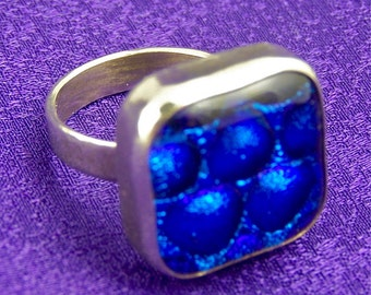 Dichroic Sterling Ring - Blue Bubbles  Textured Fused Glass Set in Fine Silver  - 3/4""