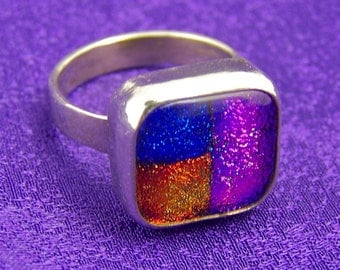 "Sterling Ring - Patchwork Dichroic in Fine Silver Bezel - Rusty Red Blue Pink Fused Glass - 1/2"" 12mm"