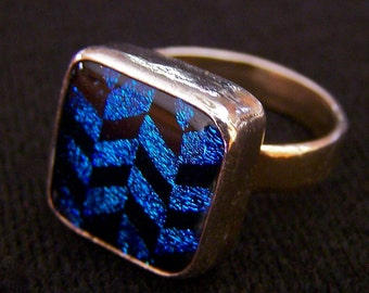 "Dichroic Glass & Sterling Silver Ring - Teal Turquoise Blue Black Checkered Chevron Pattern Diamond Zig Zag - 1/2"" 12mm"