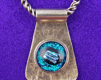 Dichroic Sterling Pendant - Fine Silver Bezel Set Teal Blue Reed Dot Fused Glass - Tube Bail