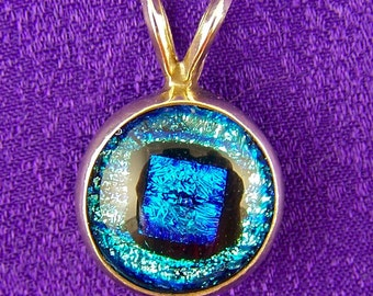 Dichroic Sterling Pendant - 1/2 Inch Silver Blue Teal Fused Glass Set in Silver Bezel