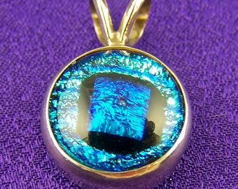 Dichroic Stone in Sterling Pendant - 1/2 Inch Silver Blue Teal 12mm Fused Glass Set in Silver Bezel