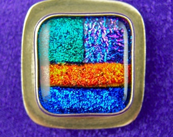 Dichroic Sterling Patchwork Pin AND Pendant - Fused Glass Bezel Set in Silver - 1 Inch 25mm