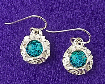 "Dichroic Earrings in Fine Silver PMC - 1/4"" Verdigris Viridian Teal Green Fused Glass & Spiral Textured 1/2"" Reversible"