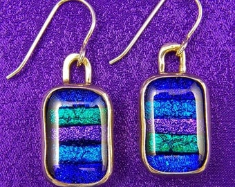 "Dichroic Sterling Earrings - Skinny Stripes Blue Green Purple Fused Glass - Silver Dangle - 1/2""  x 5/8"""