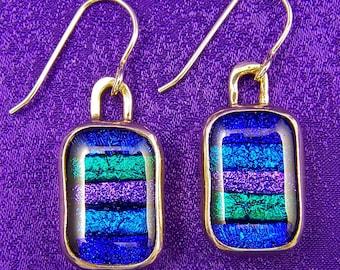 "Dichroic Sterling Silver Earrings - Skinny Stripes Blue Green Purple Fused Glass - Silver Dangle - 1/2""  x 5/8"""