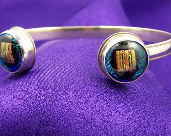 Dichroic Sterling Cuff Bracelet - Teal and Copper Double Fused Glass Bezel Set In Silver - 1/2""