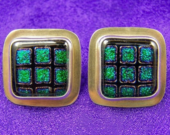 "Dichroic Sterling Earring - Emerald Green Halo Post  - Large 3/4"" Cabochons Set in Silver"