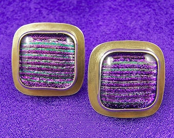 """Dichroic Sterling Earring - Violet Purple Reed Fused Glass Cabochon Bezel Set in Silver- 1"""" Post"""