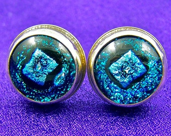 """Sterling Silver and Dichroic Glass Earrings - Turquoise Silver Aqua Blue Teal Fused Glass Bezel Set in Fine Silver - 1/2"""""""