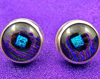 Dichroic Glass Sterling Silver Earrings Post Studs - Violet Purple Reed with Teal Bezel Set in Fine Silver - 1/2 Inch 12mm