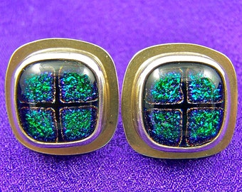 Dichroic Sterling Earrings - Emerald Green with Gold Halo Fused Glass Silver Bezel Post - 1/2 Inch