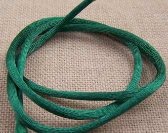 "Necklace Crafts Cord - 1 Yard, One Meter, 36"", 39 Inch - Emerald Green Satin Silk String"