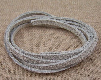 "Necklace Cord - 25""  - White Off-White Suede - 3mm Thick"