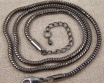 Calypso Snake Chain - Gunmetal Black Silver - Adjustable 19 20 21 inch - Strong Quality Necklace Chain