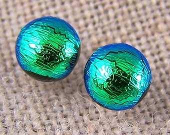"""Tiny Dichroic Post Stud Earrings - 1/4"""" 6mm 7mm - Bright Lime Green Fused Glass Lolly Pop Studs"""