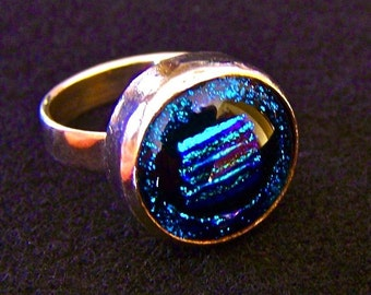 """Dichroic Sterling Silver Ring - Size 6 - Silver Teal Blue Stripes Reed & Dicro Dot Bezel Set 12mm 1/2"""""""
