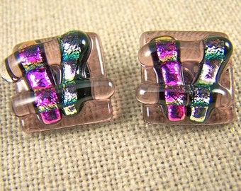 "Dichroic Earrings / Pastel Pink Magenta Mauve Plum Square Layered Fused Glass - Post or Clip - 5/8"" 16mm"