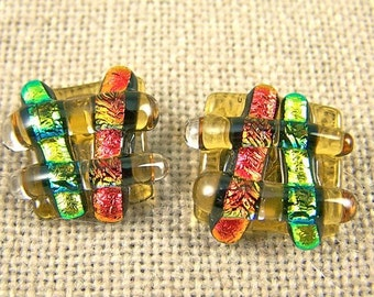 Earrings Fused Glass Dichroic Post or Clip Copper Red Orange & Gold Amber Chunky Square