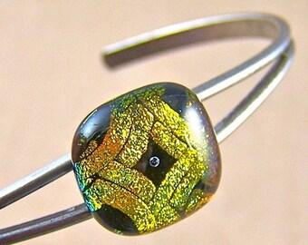 "Golden Dichroic Cuff Bracelet - 1/2"" 12mm - Copper Yellow Diamond Matrix Pattern with Bubble Fused Glass"