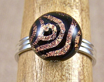 """Dichroic Ring Golden Spiral-  Tiny Adjustable - 1/4"""" 8mm - Gold Copper Swirl Coil Pattern Fused Glass"""