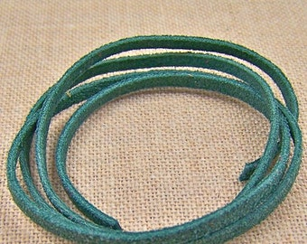 "Necklace Cord - 25""  - Verdigris Emerald Forrest Green Suede - 3mm"