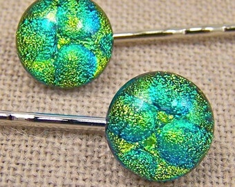 Bobby Pins Dichroic Yellow Green Radium Bubbles Dots 1/2 Inch 12mm  Fused Glass (Pair of 2)