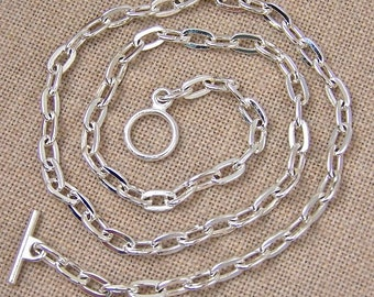 "Cable Chain (Drawn Flattened) - 4.8mm - Silver Plate Toggle Clasp - 20"" (16"", 18"", 24"" Also Available)"