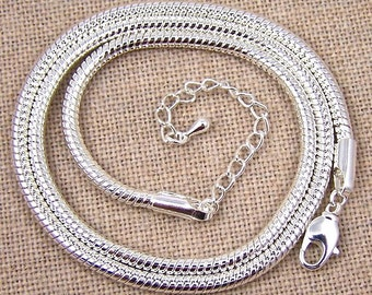 Calypso Silver Snake Necklace Chain - 3mm Bright Silver Plate - Adjustable 19 20 21 Inch - Thick Strong Heavy Duty
