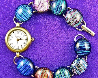 """Dichroic Watch Bracelet - Rainbow Multicolored Striped Reed Fused Glass - 1/2"""" 12mm"""