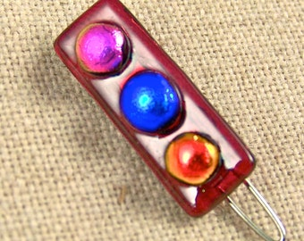 """1"""" Dichroic Barrette Tiny Small - Red with 3 Bright Dots Pink Blue Orange Fused Glass OOAK - 25mm 2.5cm One Inch"""
