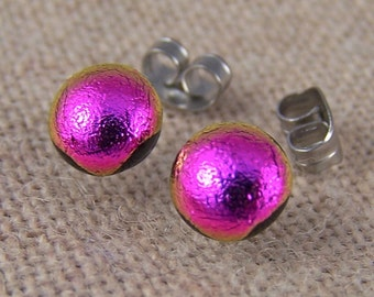 "Tiny Dichroic Stud Post Earrings - 1/4"" 6mm 7mm - Bright Pink Magenta Fuchsia Fused Glass Lolly Pop Studs"