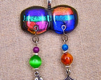 Dichroic Pendant - Beaded Multicolor Blue Green Orange Pink Fused Glass