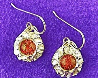 "Spirals Dichroic Glass & PMC Silver Dangle Earrings - Copper Orange Rusty Red Fused Glass Set in Fine Silver Precious Metal Clay - 1/2"""