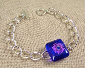 """FIREWORKS Dichroic Bracelet Chain - Royal Cobalt Blue and Pink Teal Fused Glass - 3/4"""""""
