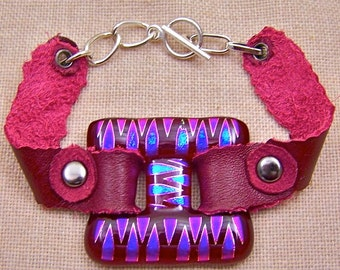 BIG Dichroic Glass & Leather  Bracelet - Cranberry Red and Pink Fused Glass - Blue Accents