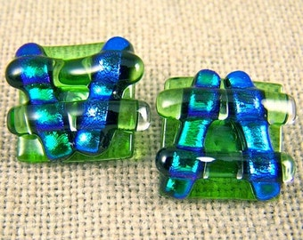 Dichroic Earrings - Emerald Teal Green Fused Glass Post or Clip-on - Chunky Square Pagoda - 5/8""