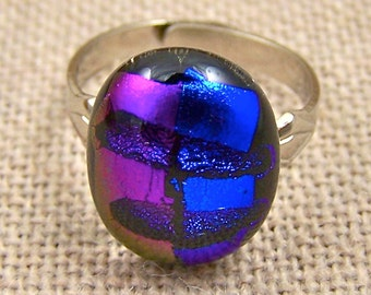 "Dichroic Adjustable Ring - 1/2"" - Purple Violet Cobalt Blue Groovy Fused Glass"