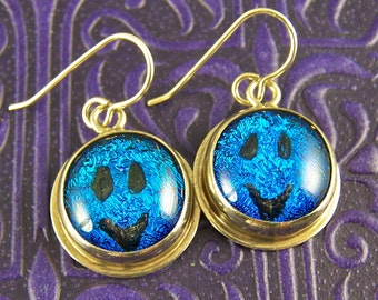 """Dichroic & Sterling Earrings - Blue Teal Smiley Face Happy Smile Fused Glass in Fine Silver Bezel - 1/2"""""""