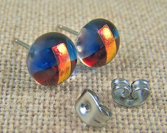 """Tiny Dichroic Stud Earrings - 1/4"""" - 10mm Ruby Red Sapphire Blue Copper Orange Top - Rock Drop Post"""