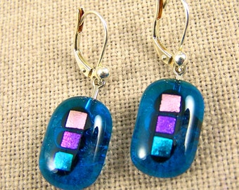 Blue Dichroic EUROWIRE Dangle - Lever Back Earrings - Turquoise Teal Green Gemstones Line w Aquamarine Stained Glass Dangles