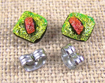 """Tiny Studs Dichroic Post Earrings - 1/4"""" 8mm - Copper Red Gold Yellow Orange Crinkle Fused Glass Stud"""
