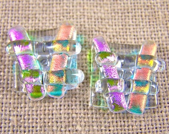 Dichroic Earrings - Peach & Pink Ice Chunky Square Post or Clip-On - Clear Orange and Magenta - 3/4' 2cm