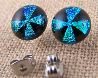 "Tiny Dichroic Post Earrings - 1/4"" - Green Teal Black Cross Windmill Pinwheel Fused Glass Studs 8mm 7mm"