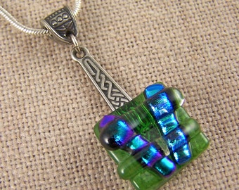 CLOSEOUT DiSCouNT SaLE Dichroic Pendant - Green Emerald Fused Glass on Silver Pewter Celtic Drop